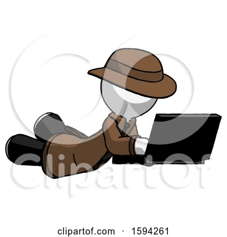 White Detective Man Using Laptop Computer While Lying on Floor Side Angled View by Leo Blanchette