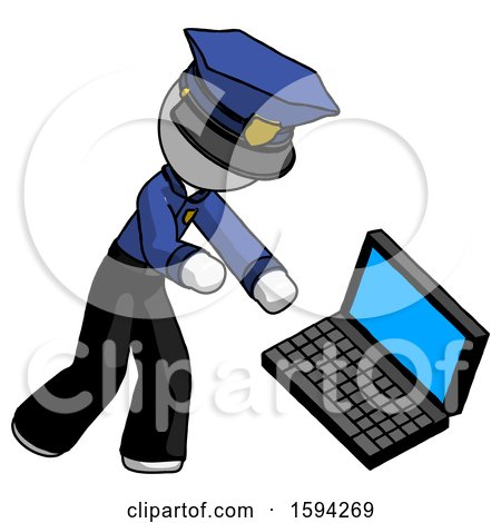 White Police Man Throwing Laptop Computer in Frustration by Leo Blanchette