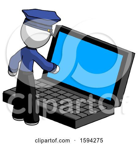 White Police Man Using Large Laptop Computer by Leo Blanchette