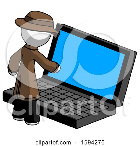 White Detective Man Using Large Laptop Computer by Leo Blanchette