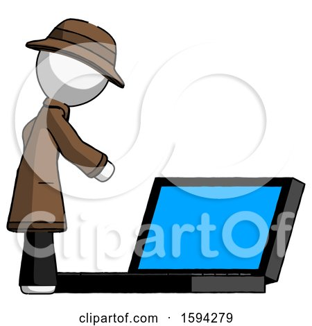 White Detective Man Using Large Laptop Computer Side Orthographic View by Leo Blanchette