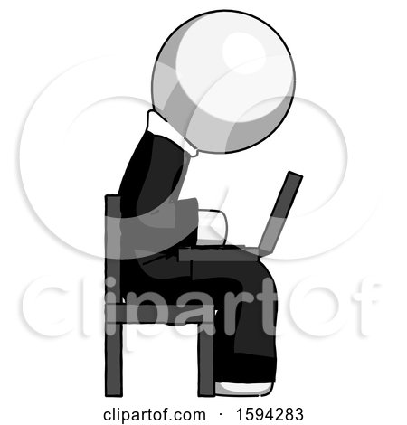 White Clergy Man Using Laptop Computer While Sitting in Chair View from Side by Leo Blanchette