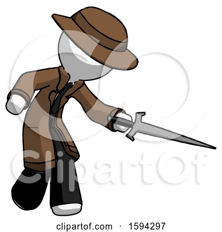 White Detective Man Sword Pose Stabbing or Jabbing by Leo Blanchette