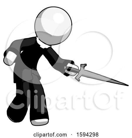 White Clergy Man Sword Pose Stabbing or Jabbing by Leo Blanchette
