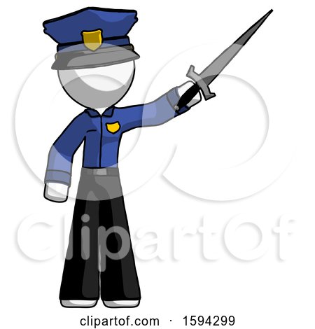 White Police Man Holding Sword in the Air Victoriously by Leo Blanchette