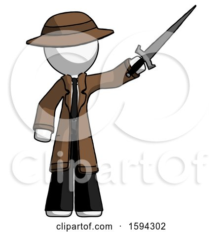 White Detective Man Holding Sword in the Air Victoriously by Leo Blanchette