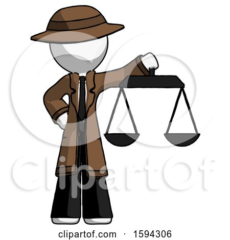 White Detective Man Holding Scales of Justice by Leo Blanchette