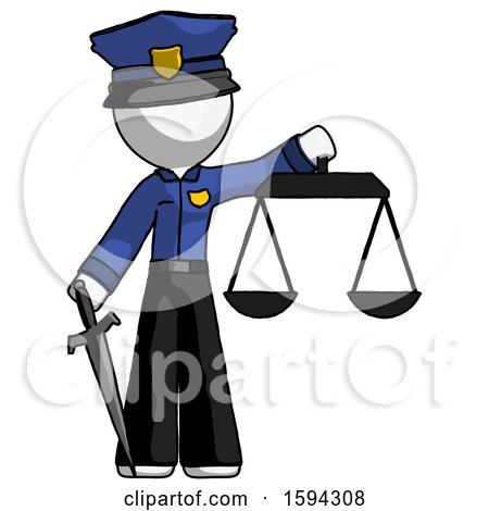 White Police Man Justice Concept with Scales and Sword, Justicia Derived by Leo Blanchette