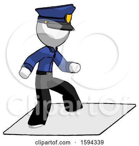 White Police Man on Postage Envelope Surfing by Leo Blanchette