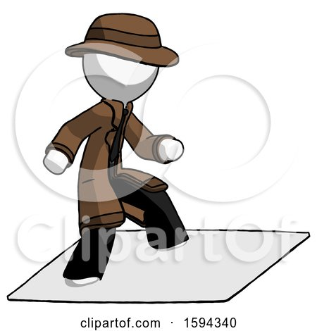 White Detective Man on Postage Envelope Surfing by Leo Blanchette