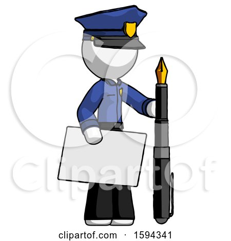 White Police Man Holding Large Envelope and Calligraphy Pen by Leo Blanchette