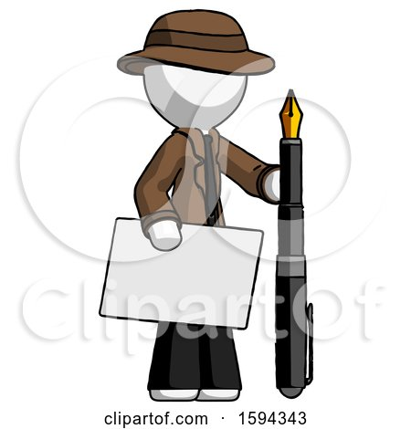 White Detective Man Holding Large Envelope and Calligraphy Pen by Leo Blanchette