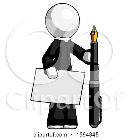 White Clergy Man Holding Large Envelope and Calligraphy Pen by Leo Blanchette
