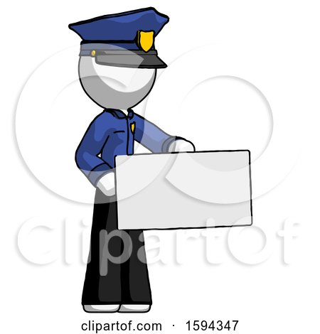 White Police Man Presenting Large Envelope by Leo Blanchette