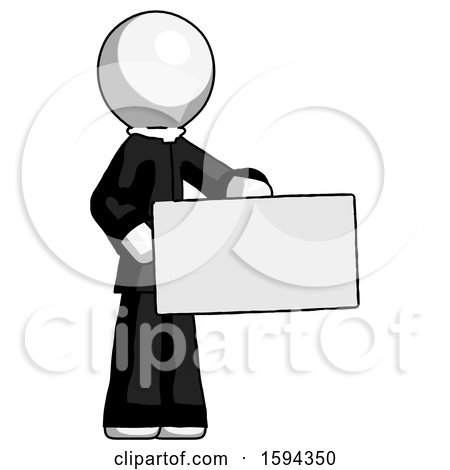 White Clergy Man Presenting Large Envelope by Leo Blanchette