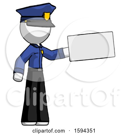 White Police Man Holding Large Envelope by Leo Blanchette
