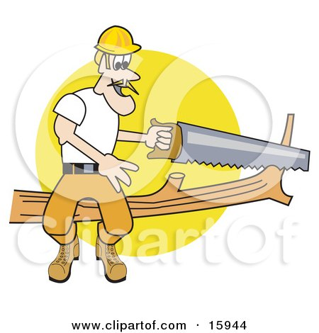 Male Arborist Sitting On A Tree Branch And Using A Saw To Trim It Clipart Illustration by Andy Nortnik
