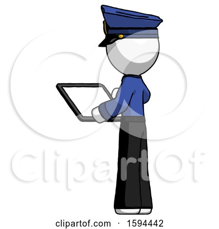 White Police Man Looking at Tablet Device Computer with Back to Viewer by Leo Blanchette