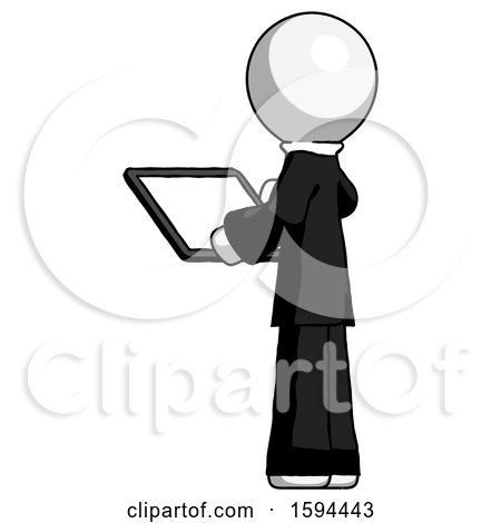 White Clergy Man Looking at Tablet Device Computer with Back to Viewer by Leo Blanchette