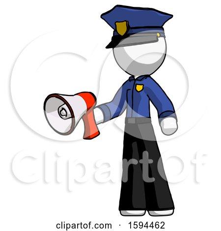 White Police Man Holding Megaphone Bullhorn Facing Right by Leo Blanchette
