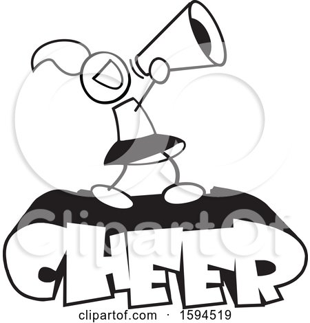 Clipart of a Black and White Cheerleader Using a Bullhorn on Text - Royalty Free Vector Illustration by Johnny Sajem