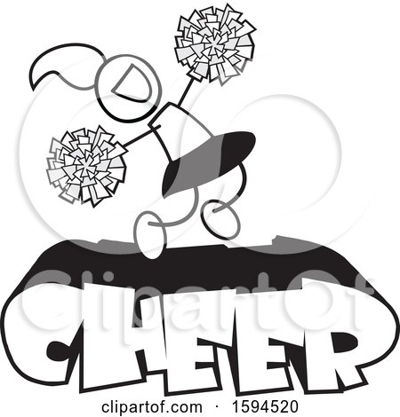 Clipart of a Cheerleader Jumping with Pom Poms over Text - Royalty Free Vector Illustration by Johnny Sajem
