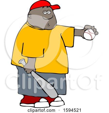 Clipart of a Cartoon Black Boy Athlete Holding a Baseball and Bat - Royalty Free Vector Illustration by djart
