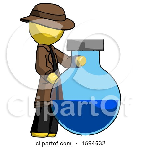 Yellow Detective Man Standing Beside Large Round Flask or Beaker by Leo Blanchette