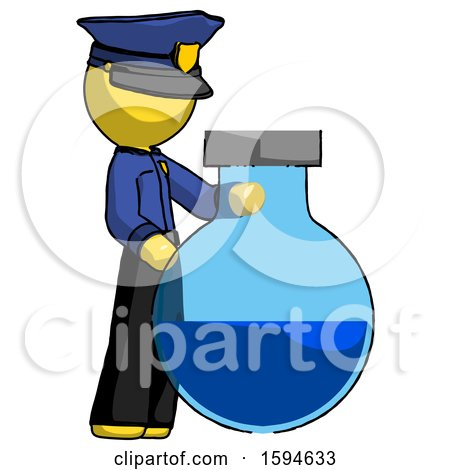 Yellow Police Man Standing Beside Large Round Flask or Beaker by Leo Blanchette