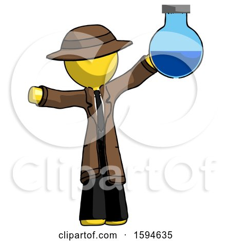 Yellow Detective Man Holding Large Round Flask or Beaker by Leo Blanchette