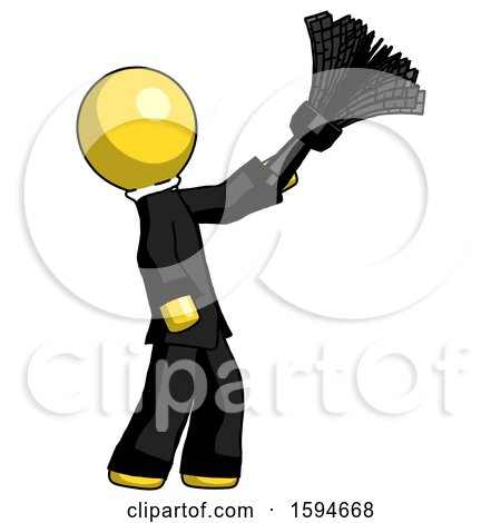 Yellow Clergy Man Dusting with Feather Duster Upwards by Leo Blanchette