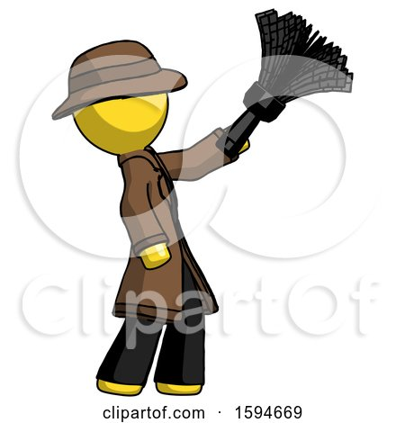 Yellow Detective Man Dusting with Feather Duster Upwards by Leo Blanchette