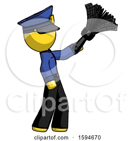 Yellow Police Man Dusting with Feather Duster Upwards by Leo Blanchette