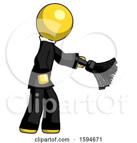 Yellow Clergy Man Dusting with Feather Duster Downwards by Leo Blanchette