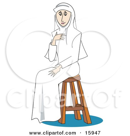 Pretty Female Nun Dressed All In White, Holding One Hand Up To Her Chest And Sitting On A Stool Clipart Illustration by Andy Nortnik