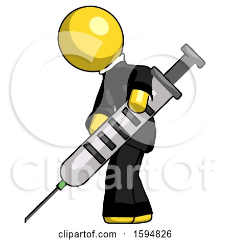 Yellow Clergy Man Using Syringe Giving Injection by Leo Blanchette