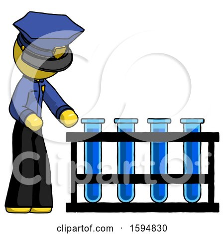 Yellow Police Man Using Test Tubes or Vials on Rack by Leo Blanchette