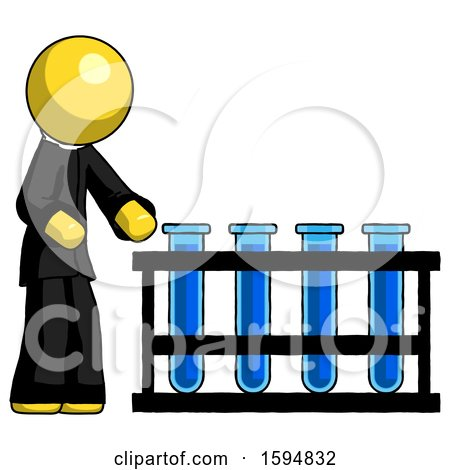 Yellow Clergy Man Using Test Tubes or Vials on Rack by Leo Blanchette