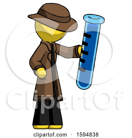 Yellow Detective Man Holding Large Test Tube by Leo Blanchette