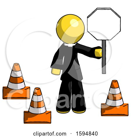 Yellow Clergy Man Holding Stop Sign by Traffic Cones Under Construction Concept by Leo Blanchette