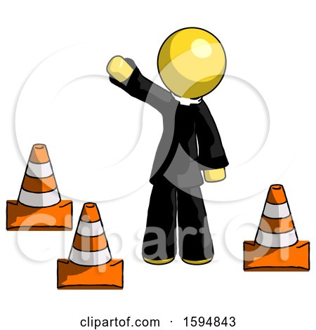 Yellow Clergy Man Standing by Traffic Cones Waving by Leo Blanchette