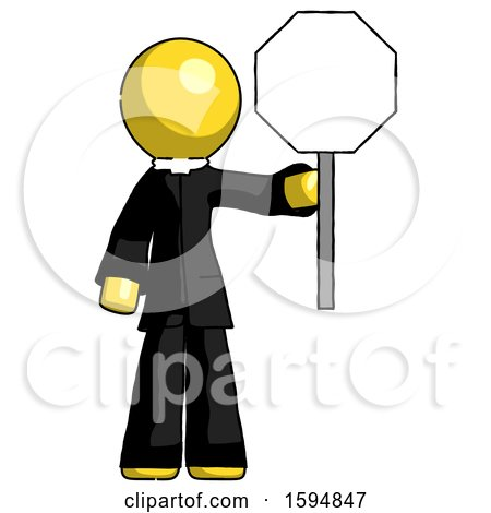 Yellow Clergy Man Holding Stop Sign by Leo Blanchette