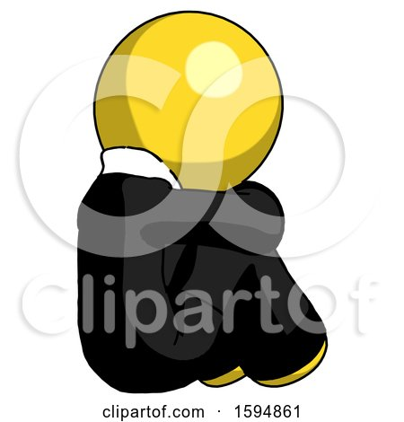 Yellow Clergy Man Sitting with Head down Back View Facing Right by Leo Blanchette