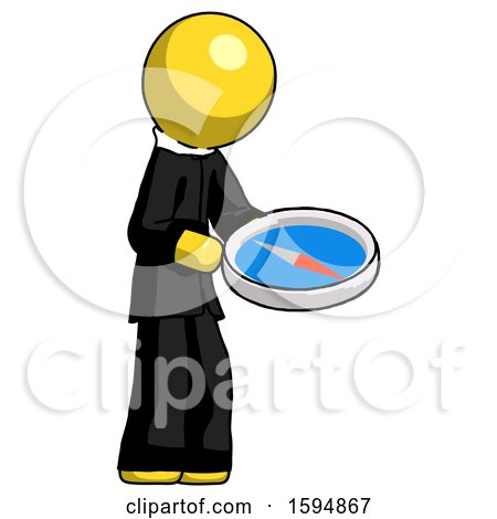 Yellow Clergy Man Looking at Large Compass Facing Right by Leo Blanchette