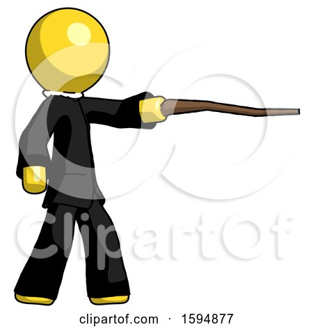 Yellow Clergy Man Pointing with Hiking Stick by Leo Blanchette