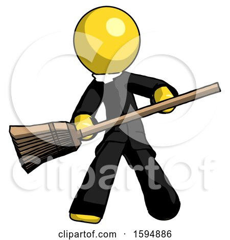 Yellow Clergy Man Broom Fighter Defense Pose by Leo Blanchette