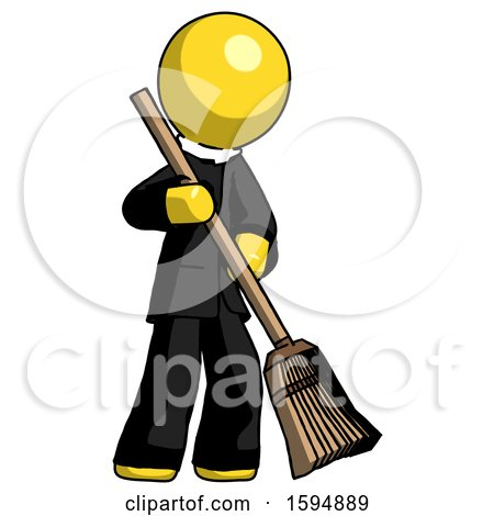 Yellow Clergy Man Sweeping Area with Broom by Leo Blanchette
