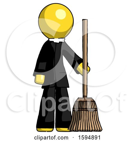 Yellow Clergy Man Standing with Broom Cleaning Services by Leo Blanchette