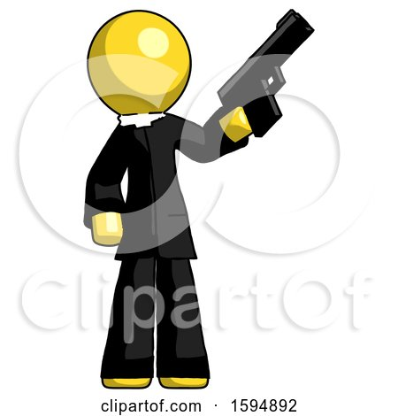 Yellow Clergy Man Holding Handgun by Leo Blanchette