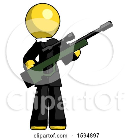 Yellow Clergy Man Holding Sniper Rifle Gun by Leo Blanchette